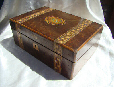 TUNBRIDGE WARE Mid 1800's ANTIQUE VICTORIAN Inlaid TRAVELER'S Slant Top LAP DESK