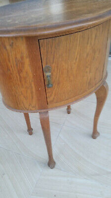 Art Deco*Oak*Oval Bedside Table*Cabriole Legs*Antique*Timber*Wood*Cabinet*Round