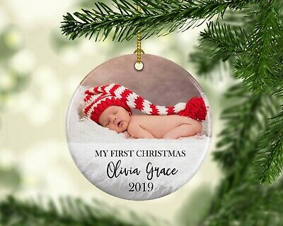 Personalised Christmas Tree Hanging Ceramic Ornament Photo My First Christmas