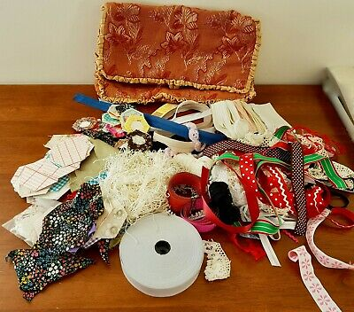 BULK LOT Vintage & New Assorted Trims Lace Elastic Zips CRAFT SEW ITEMS w Bag