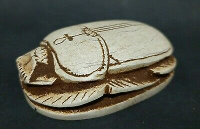 ANCIENT EGYPTIAN ANTIQUES White Scarab Beetle Egypt Hand Carved Stone 1300 BC