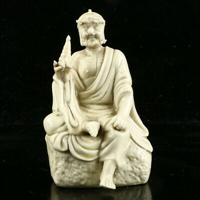 Chinese Dehua Porcelain Sculpture Hand carved Rohan  Statue  MC46