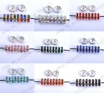 100Pcs Czech Crystal Rhinestone Silver Rondelle Spacer Beads 6MM 8MM 10MM 12MM