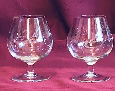 """Princess House  Heritage Etched  4.5"""" Brandy Snifter - Set Of 2"""