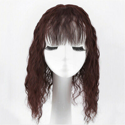 Women Top Piece Kinky Curly  With Bang Human Hair Clip in Topper Cover Loss Hair