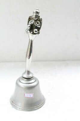 Old White Metal Religious Hindu God Hanuman Garuda Engraved Hand Bell NH6074