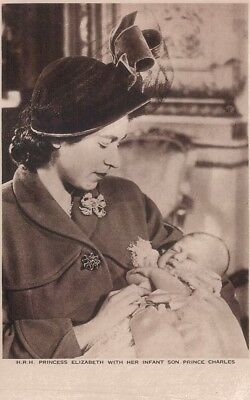 Vintage Royalty Postcard - HRH Princess Elizabeth with Baby Charles Photochrom