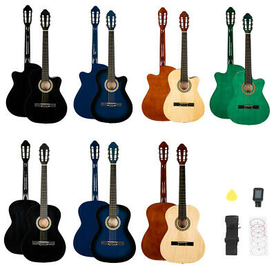 """New 38"""" Basswood Student Acoustic Guitar With Guitar Case, Strap, Tuner and Pick"""