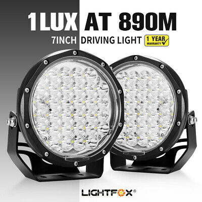 Pair 7inch LIGHTFOX LED Spot Driving Light Spotlight Lamp Off Road 4WD SUV Truck