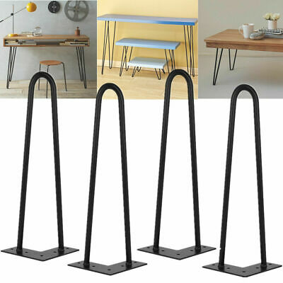 "4x Hairpin Table Legs 10 Steel 4""8""10"" 14"" 16"" 28"" Furniture Table Desk Bench"