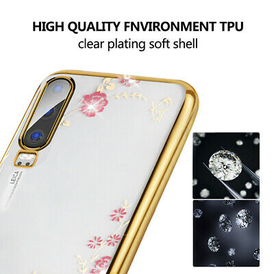 Diamond Plating Flower Slim Case Cover For Huawei Mate 20 Lite P20 P30 Pro Nova5
