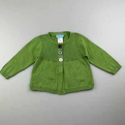 Girls size 000, Puddle Ducklings, green cotton knitted cardigan, EUC