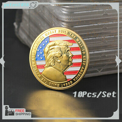 """10Pcs President Donald Trump""""BUILD THE WALL TO KEEP AMERICA GREAT"""" Coin US Store"""