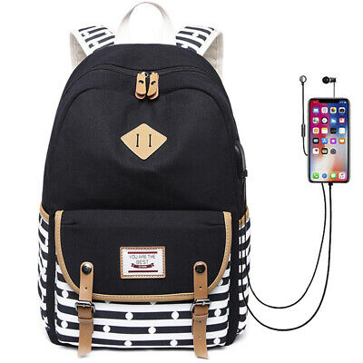 Canvas Women Striped Backpack USB Charging School Bags Laptop Bookbag For Girls
