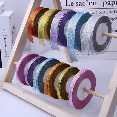 22 Metres 25mm Double Sided Satin Glitter Ribbons Bling Bows Reels Wedding Decor