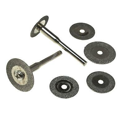 6 X Mini Diamond Blade Cutting Disc Rotary Wheel Grinding +2 Mandrel Dremmel