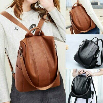 Women's Leather Backpack Anti-Theft Rucksack School Shoulder Bag Black/Brown CG
