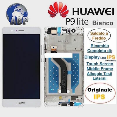 Display LCD Touch Screen Middle Frame HUAWEI P9 Lite VNS-L31 L23 Bianco Original
