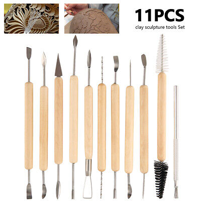 11PCS Clay Sculpting Set Wax Carving Pottery Tools Shapers Polymer Modeling UK