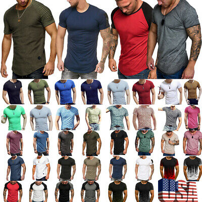 Summer Men Slim Fit O-Neck Short Sleeve Muscle Tee Shirts Casual Shirt Tops