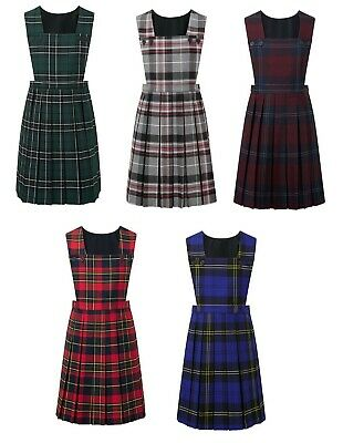 Girls Dungarees Tartan Check Pinafore Buttoned Skater Skirt Dress Age 3-13 Years