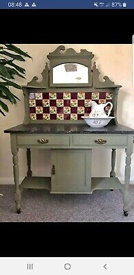 Beautiful Olive Green Victorian Tiled Wash Stand Side Unit Kitchen Living Room