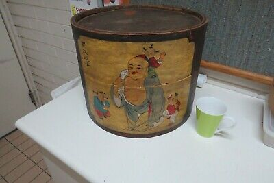 Antique Chinese wooden hand painted hat storage box  Buddha with kids