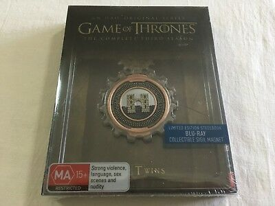 Game of Thrones Third Season Three 3 - Steelbook 5-Disc Blu-Ray Region B | New