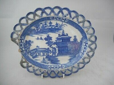 19th Century Antique Pearlware Blue & White Porcelain Dish - Pierced Decoration