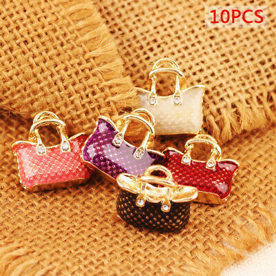 10PCS Enamel Alloy Bag Handbag Charms Pendants DIY Jewelry Findings Crafts GifQP