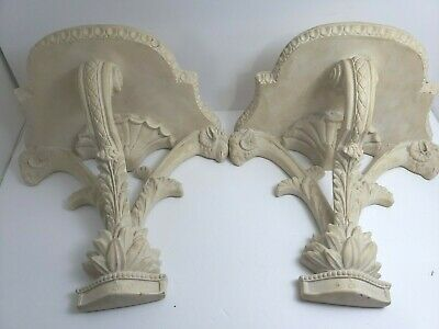 "2 VINTAGE CAST PLASTER WALL SHELF HEAVY WHITE SEMI MATTE  Ramhead LEAF 14""H 12""W"