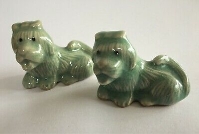 Pair of Small Korean Celadon Crackle-Glazed Dogs (Marked to Base)