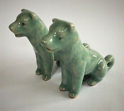 Pair of Korean Celadon Crackle-Glazed Dog Form Water Droppers, (Marked to base)