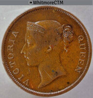 1862 Straits Settlements 1 Cent - Queen Victoria British Crown Colony