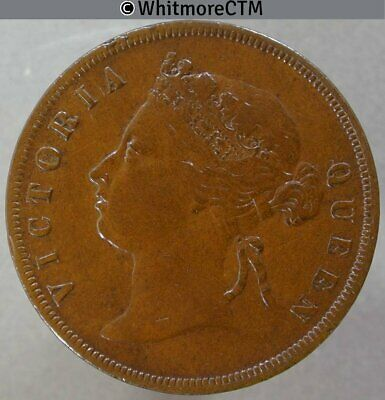 1874 Straits Settlements 1 Cent - Queen Victoria British Crown Colony