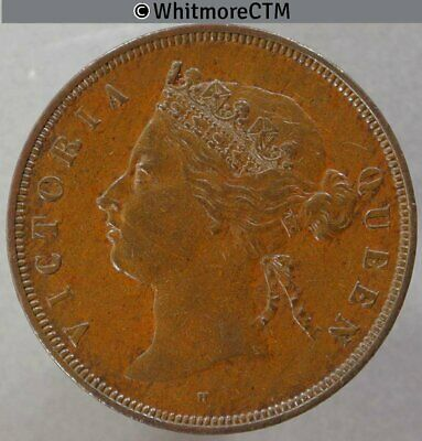 1874H Straits Settlements 1 Cent - Queen Victoria British Crown Colony