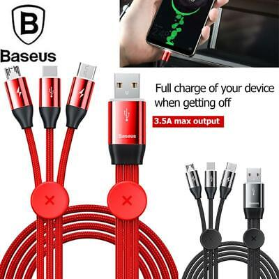 Baseus 3 in 1 Fast Charging Cable for iPhone Android USB Type C Mobile Phone