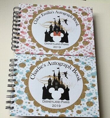 Personalised Disney Autograph Book*A5* PINK MINNIE or BLUE MICKEY CASTLE*REVEAL*