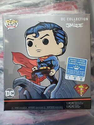 "Funko POP! + TEE DC Comics JIM LEE Exclusive ""SUPERMAN"" T-Shirt NEW LARGE"
