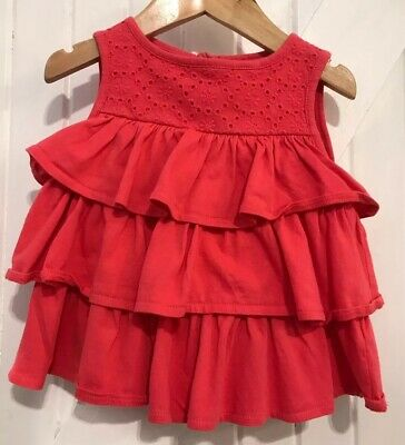 Mini Boden Girls Age 2-3 Years coral sun top Frill Detail summer Top