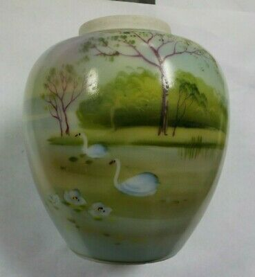 Elite Nippon Hand Painted Vase Swans Swimming on Lake Trees, Flowers, Mountains
