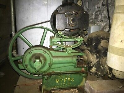 Antique Myers working cistern electric motor pump with collection tank