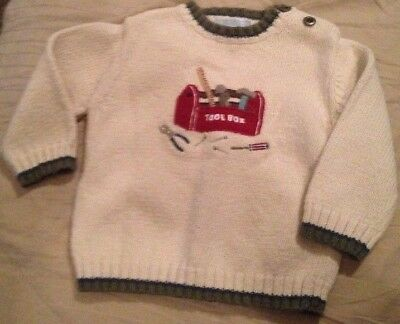 Janie & Jack Baby Boy's Ivory Pullover Sweater 6-12 Months Carpenter ToolBox