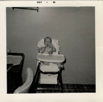 Cute Adorable Baby on High Chair Playing with Toys SEPTEMBER 1961 Vintage Photo