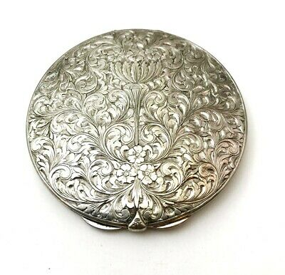 Edwardian Ornate Hand Chased 800 Silver Ladies Powder Mirror Compact