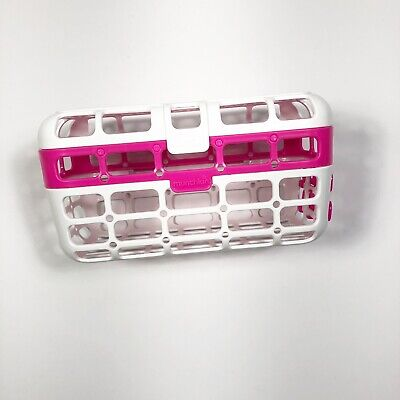 Munchkin Deluxe Dishwasher Basket Pink White Catch-all Straws Pacifiers Nipples