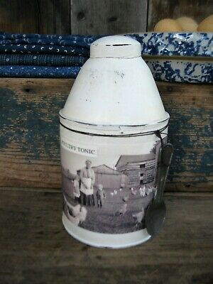 Early Antique Pantry Tin w Old Photo Print Poultry Tonic