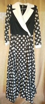 Vtg Retro 40's 50's 60's Mad Men Black White Polka Dot Dress