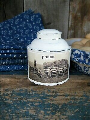 Early Antique Pantry Spice Tin w Old Photo Print Hay Wagon Free Shipping