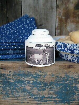 Early Antique Pantry Spice Tin w Old Photo Print Sweet Cream Free Shipping